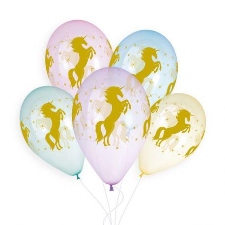 Sachet de 5 ballons en latex couleur cristal pastel avec impression or licorne! Ø 33cm