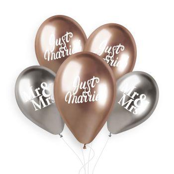 5 Ballons argent et gold rose Just Married Ø33cm