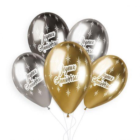 Sachet de 5 ballons en latex assortis Shiny or, anthracite et argent avec impression Joyeux Anniversaire!Ø 33cm
