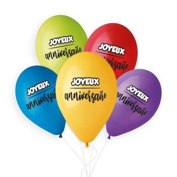 5 Ballons Multicolore Joyeux Anniversaire Ø33cm