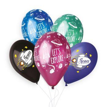 5 Ballons Multicolore Space Ø33cm
