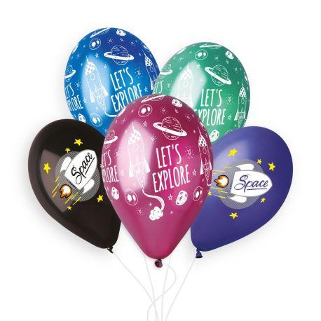 Sachet de 5 ballons en latex assortis avec impression et décor sur le thème de l'espace !Ø 33cm