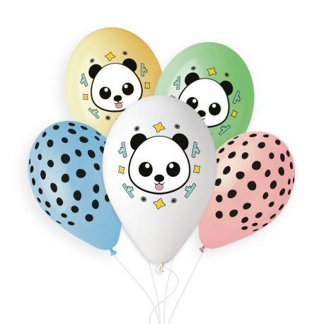 Sachet de 5 ballons en latex pastel assortis avec impression et décor sur le thème du Panda !Ø 33cm