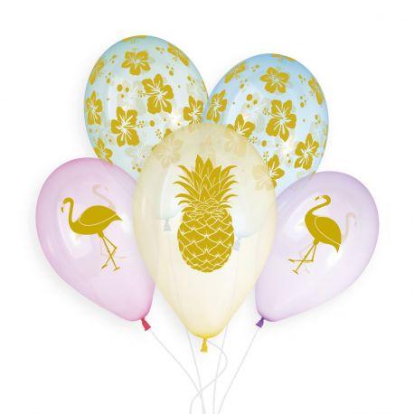 Sachet de 5 ballons en latex couleur cristal pastel avec impression or tropical! Ø 33cm