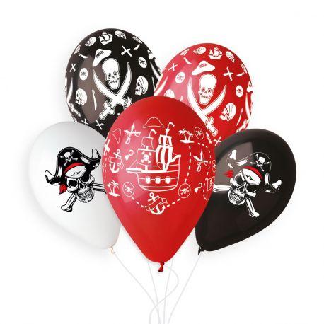 Sachet de 5 ballons en latex assortis avec impression et décor sur le thème Pirate !Ø 33cm