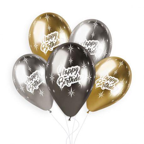 Sachet de 5 ballons en latex assortis Shiny or, anthracite et argent avec impression Happy Birthday!Ø 33cm