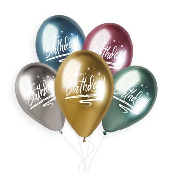 5 Ballons Birthday Shiny color Ø33cm