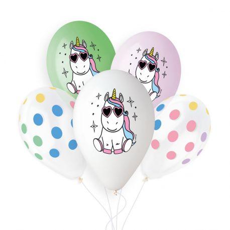Sachet de 5 ballons en latex pastel assortis avec impression couleur et décors sur le thème Licorne !Ø 33cm