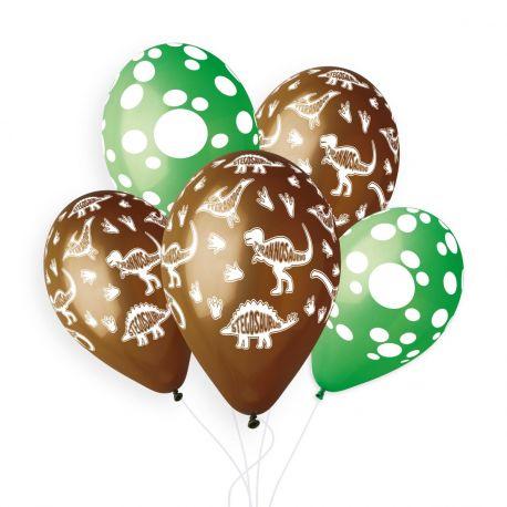 Sachet de 5 ballons en latex assortis avec impression décors sur le thème Dinosaure !Ø 33cm