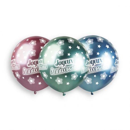 Sachet de 3 ballons en latex assortis Shiny or, ,argent, bleu, rose et vert avec impression Joyeux Anniversaire!Ø 48cm