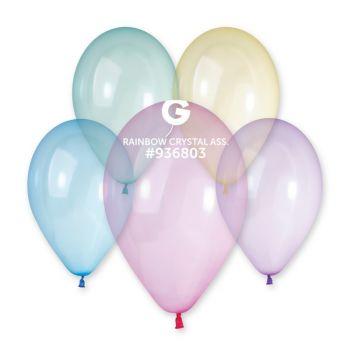 10 Ballons assortis cristal Ø33cm