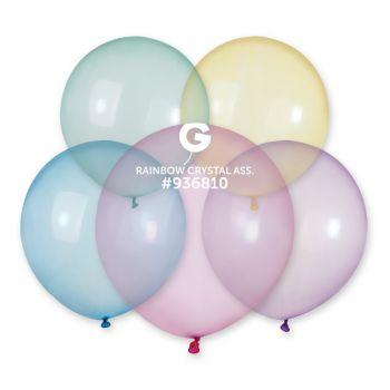 5 Ballons assortis cristal Ø33cm