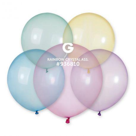 5 Ballons taille standard en latex translucide de couleur assortis pastel idéal pour vos décoration de fête et d'anniversaire et...