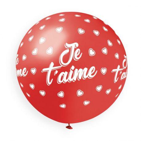 Ballon en latex géant de couleur rouge avec impression blanche coeur et Je t'aime !Ø 80cm