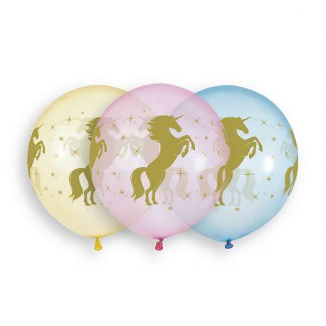 Sachet de 3 grands ballons en latex couleur cristal pastel avec impression or licorne! Ø 48cm