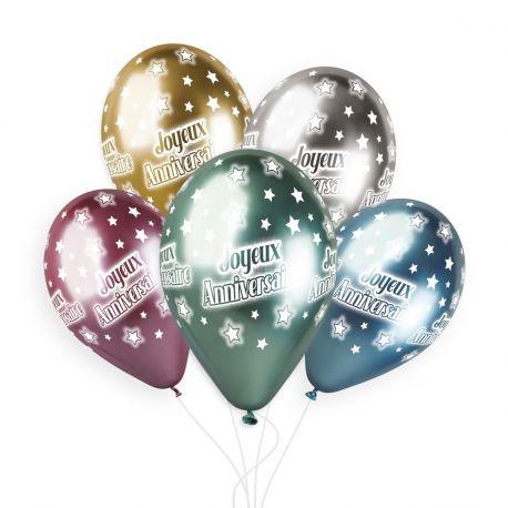Sachet de 5 ballons en latex assortis Shiny or, ,argent, bleu, rose et vert avec impression Joyeux Anniversaire!Ø 33cm