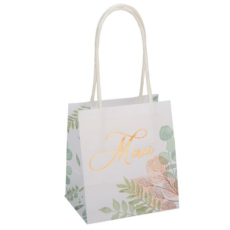 6 mini sachets papier décor botanique Merci avec dorure gold rose pour une belle décoration de table douce, végétale et naturelle ultra...