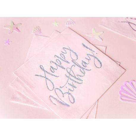 20 Serviettes en papier roses avec une inscription