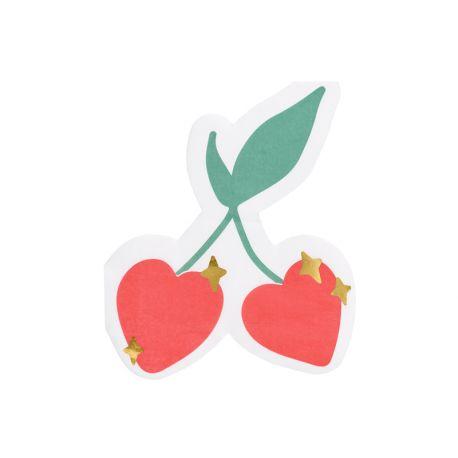 20 Serviettes en papier en forme de cerise coeur pour faire une belle décoration de table estivale ou pour la fête des mères...