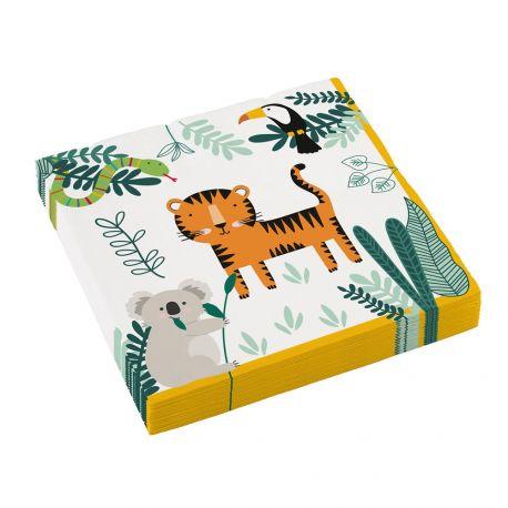20Serviettes thème Jungle Wild pour la déco anniversaire de votre enfant.Dimensions : 16.5 x 16.5cm/33 cm x 33 cm