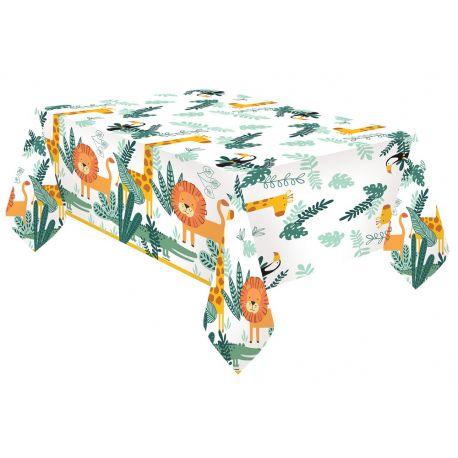 Nappe en papier thème Jungle Wild pour la déco anniversaire de votre enfant.Dimensions : 1.30 x 2.60 Mètres