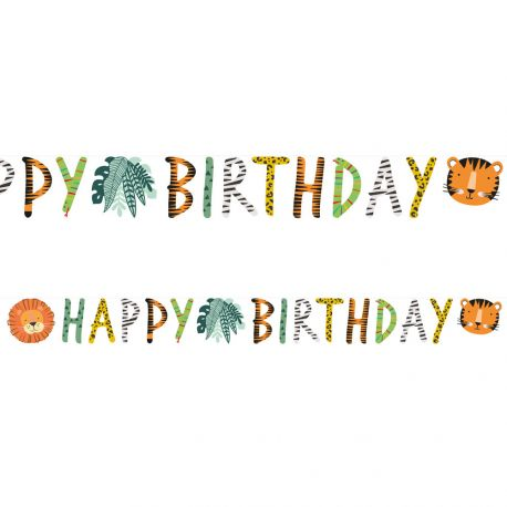 Banderole Happy Birthday sur le thème Jungle WildDimensions: 1.8 Mètre x 15cm