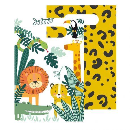 8 sachets en papier pour anniversaire thème Jungle Wild