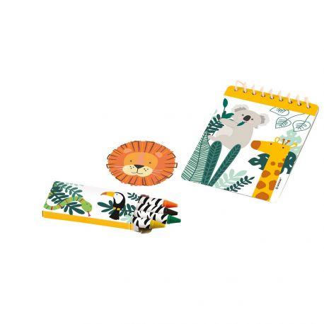 Kit cadeaux comprenant 24 pièces pour anniversaire thème Jungle Wild Contient: Cahier, crayons, gomme et stickers