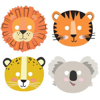 8 Masques en carton Jungle Wild