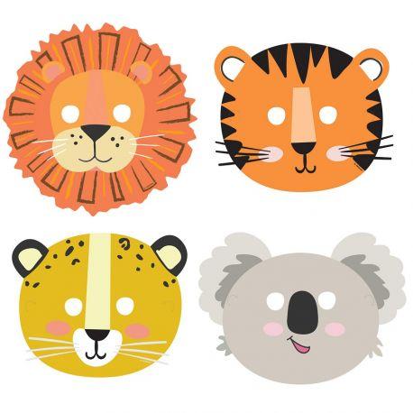 8 masques en carton pour anniversaire thème Jungle Wild
