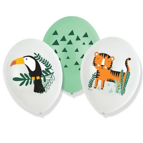 6 Ballons quadri pour anniversaire thème Jungle WildDimensions: Ø27.5cm