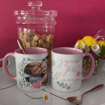 Mug personnalisé bicolore decor Joyeuses Fêtes Maman