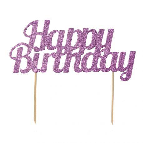 Décor Happy Birthday pink pailleté à piquer sur votre gâteau d'anniversaireDimensions: 18cm x 15cm