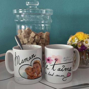 Mug personnalisé décor Maman Je T'aime