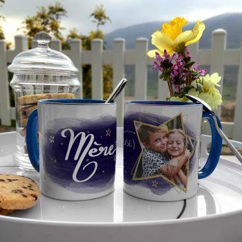 Mug personnalisé bicolore décor Maman Mère-veilleuse