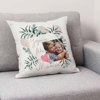 Coussin personnalisé décor Bonne Fête Maman