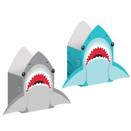 8 Sacs papier Requin idéal pour une belle décoration de table d'anniversaireDimensions: 20 x 11 x 8cm