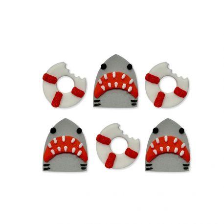 6 décors en sucre requins idéal pour une belle décoration de table d'anniversaireDimensions: Ø 2.5-3cm