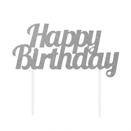 Décor Happy Birthday argent pailleté à piquer sur votre gâteau d'anniversaireDimensions: 18cm x 9cm