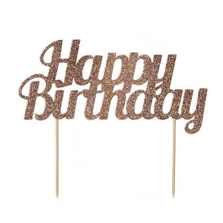 Décor Happy Birthday rose gold pailleté à piquer sur votre gâteau d'anniversaireDimensions: 18cm x 15cm