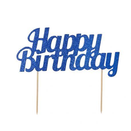 Décor Happy Birthday bleu pailleté à piquer sur votre gâteau d'anniversaireDimensions: 18cm x 15cm