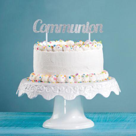 Décor Communion pailleté à piquer sur votre gâteau d'anniversaireDimensions: 11.4 x 18cm