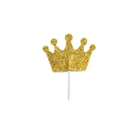 12 pics déco pailleté or en forme de couronne pour décorer vos gâteauxDimensions : 3 x 3.5cm