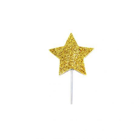 12 pics déco pailleté or en forme d'étoile pour décorer vos gâteauxDimensions : 3 x 3.5cm