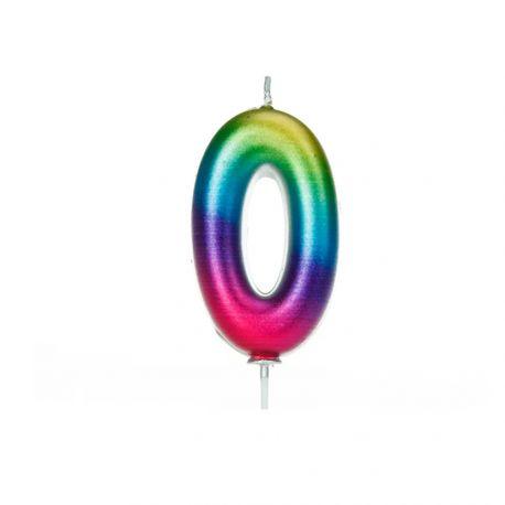 Bougie d'anniversaire en cire en forme de chiffre, couleur arc en ciel iriséChiffre N° 0Taille 7 cm