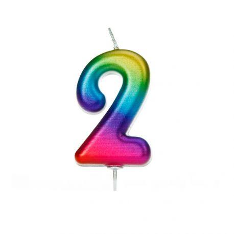 Bougie d'anniversaire en cire en forme de chiffre, couleur arc en ciel iriséChiffre N° 2Taille 7 cm