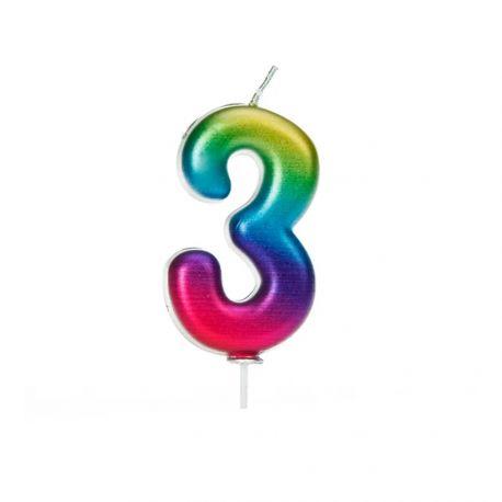 Bougie d'anniversaire en cire en forme de chiffre, couleur arc en ciel irisé Chiffre N° 3 Taille 7 cm
