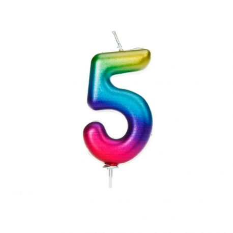 Bougie d'anniversaire en cire en forme de chiffre, couleur arc en ciel irisé Chiffre N° 5 Taille 7 cm