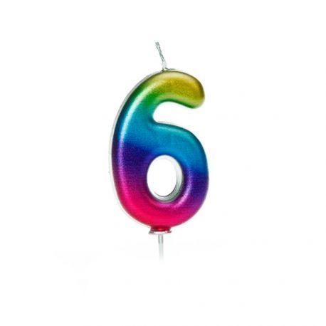 Bougie d'anniversaire en cire en forme de chiffre, couleur arc en ciel irisé Chiffre N° 6 Taille 7 cm