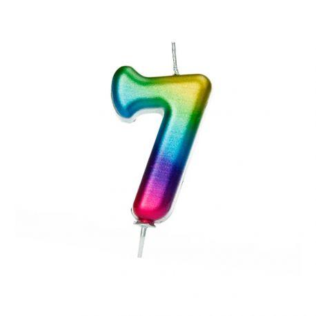 Bougie d'anniversaire en cire en forme de chiffre, couleur arc en ciel irisé Chiffre N° 7 Taille 7 cm